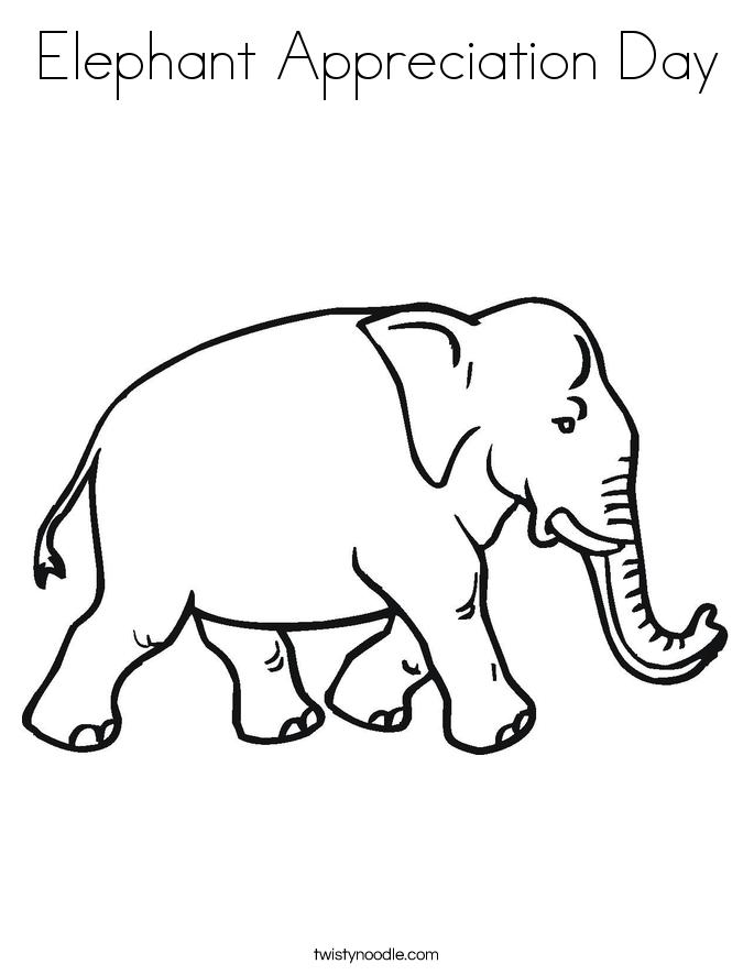 Elephant Appreciation Day Coloring Page