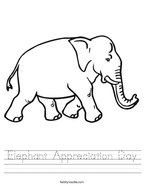 Elephant Appreciation Day Handwriting Sheet