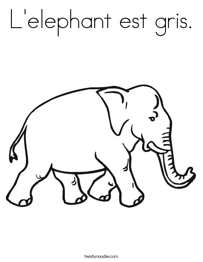 L'elephant est gris. Coloring Page