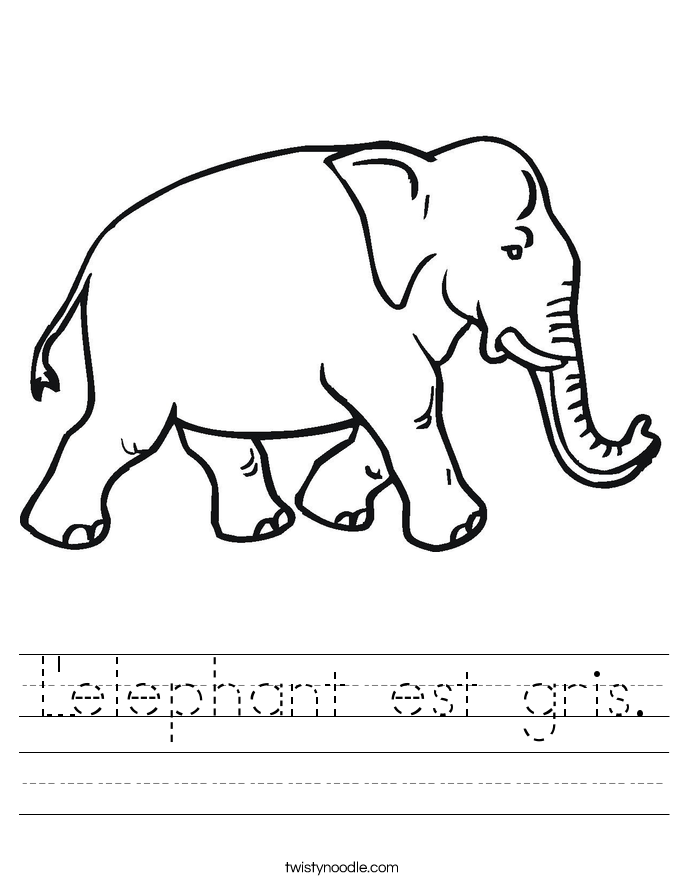 L'elephant est gris. Worksheet