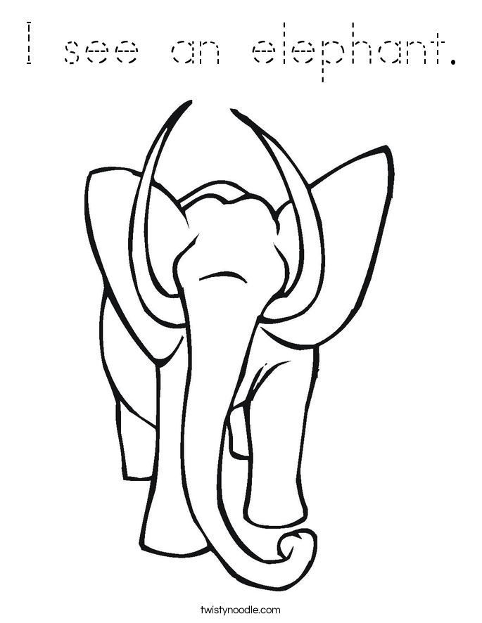 I see an elephant. Coloring Page