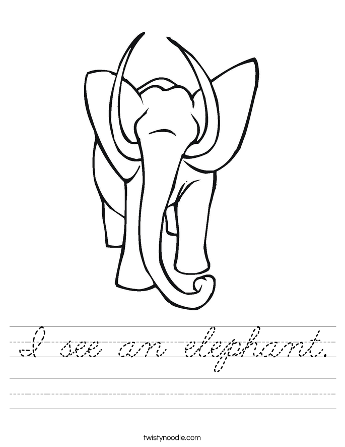 I see an elephant. Worksheet