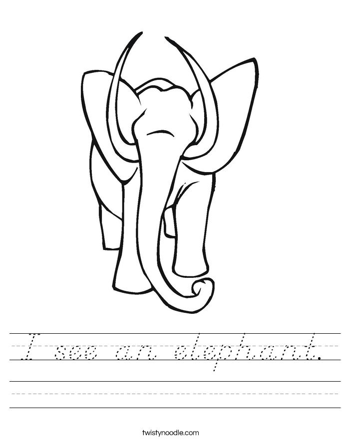 I see an elephant. Worksheet