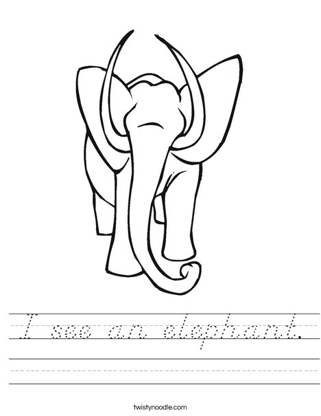 Elephant with Tusks Worksheet