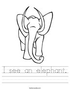 I see an elephant Handwriting Sheet
