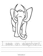 I see an elephant Handwriting Sheet