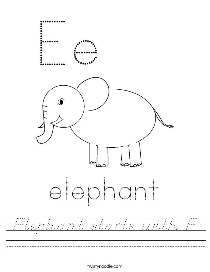 Elephant starts with E Worksheet