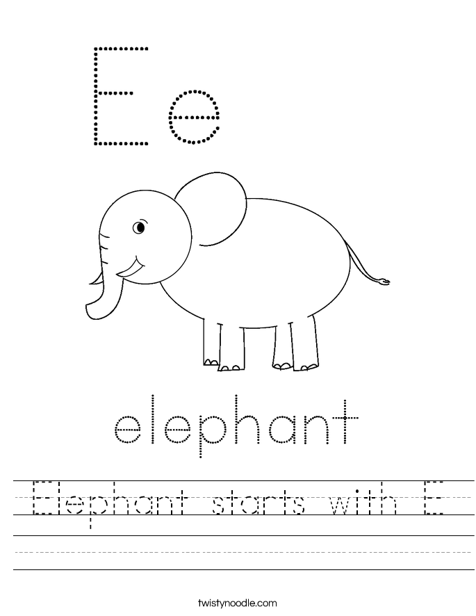 Elephant starts with E Worksheet