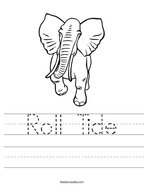 Roll Tide Handwriting Sheet