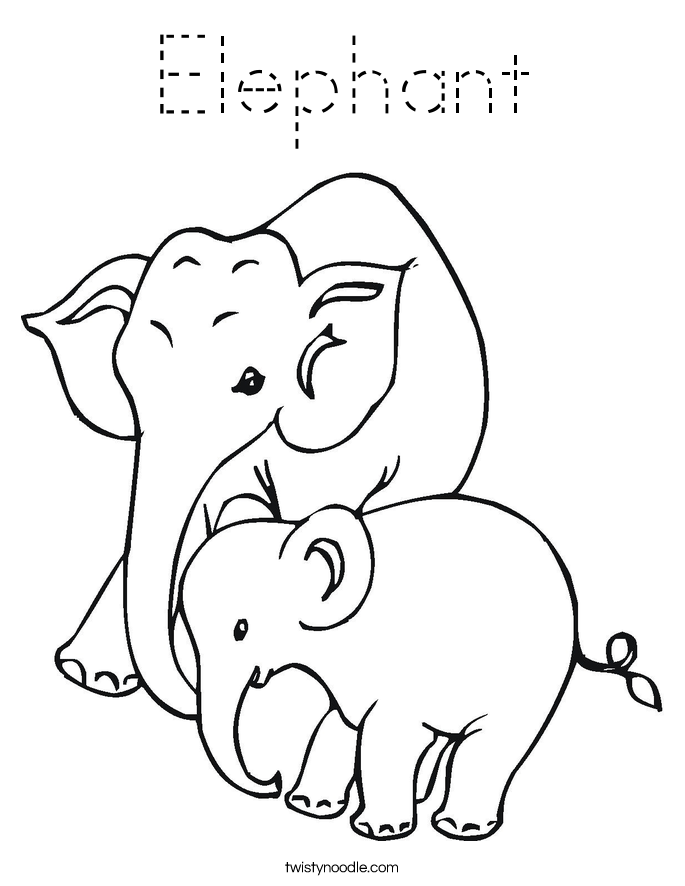 Elephant Coloring Page Tracing Twisty Noodle