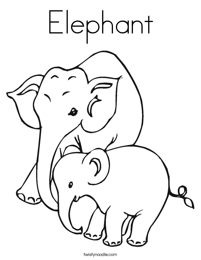 Free Coloring Pages Animals Elephants : Elephant coloring page twisty noodle