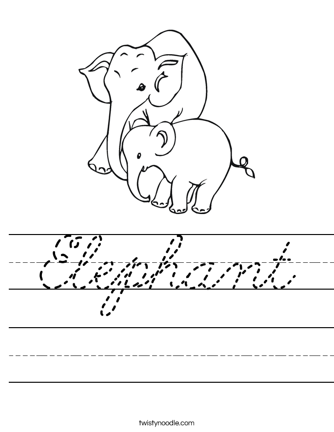 Elephant Worksheet