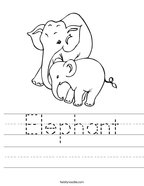 Elephant Handwriting Sheet