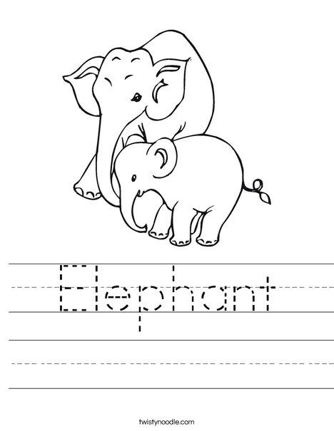 Elephant Mom and Baby Worksheet