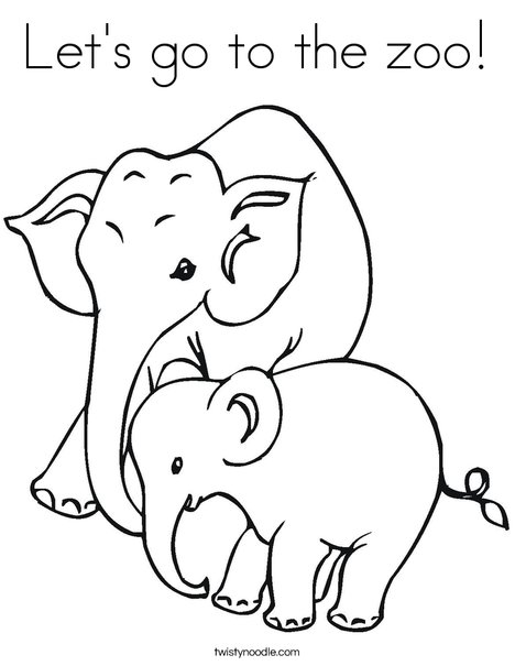 Elephant Mom and Baby Coloring Page