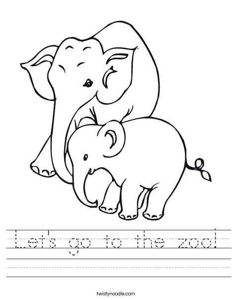 Elephant Mom and Baby Worksheet