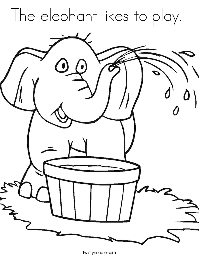 The elephant likes to play.  Coloring Page