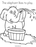 The elephant likes to play  Coloring Page