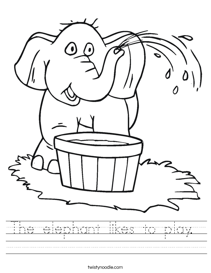 The elephant likes to play.  Worksheet
