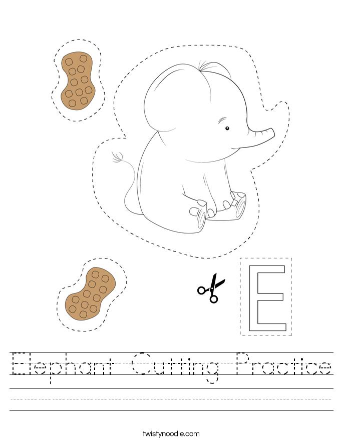 Elephant Cutting Practice Worksheet