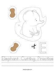 Elephant Cutting Practice Handwriting Sheet