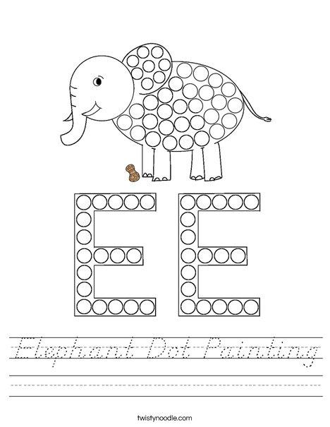 Elephant Dot Painting Worksheet