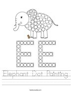 Elephant Dot Painting Handwriting Sheet