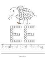 Elephant Dot Painting Handwriting Sheet