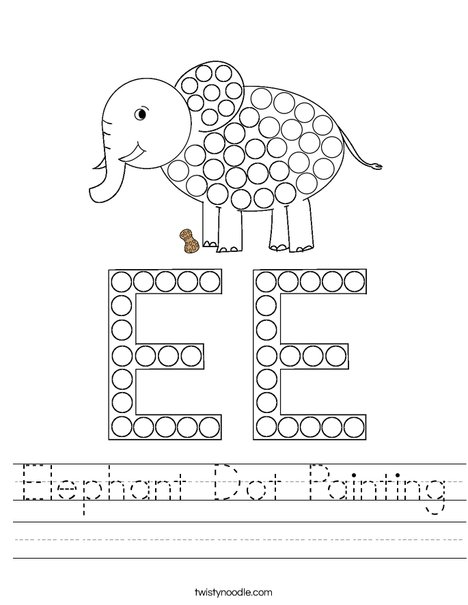 Elephant Dot Painting Worksheet