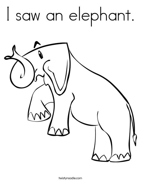 Elephant for Zoo Book Coloring Page