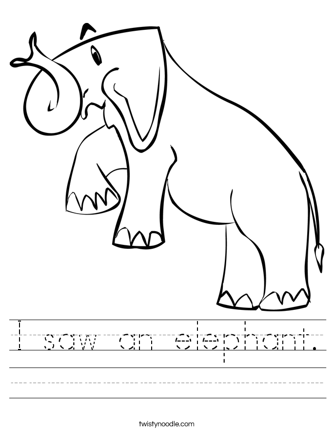 I saw an elephant. Worksheet