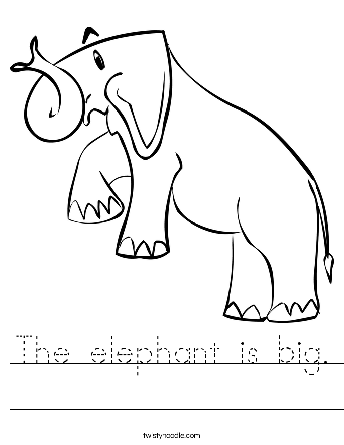 The elephant is big. Worksheet