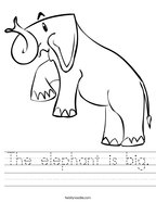 The elephant is big Handwriting Sheet