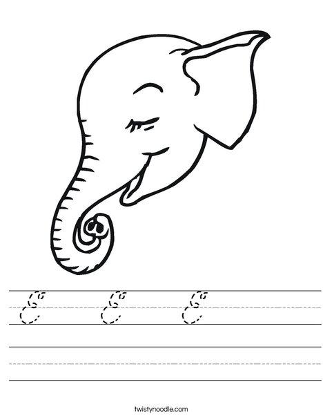 Elephant Head Worksheet