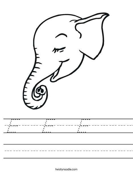 Elephant Head Worksheet