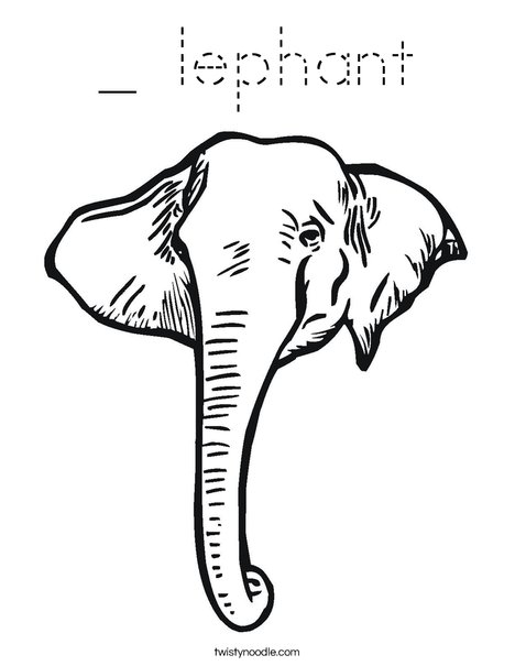 Elephant Head1 Coloring Page