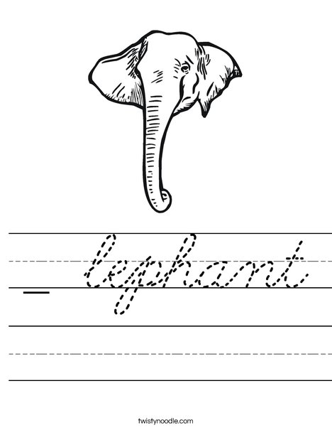 Elephant Head1 Worksheet