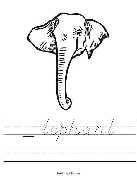 Elephant Head1 Worksheet