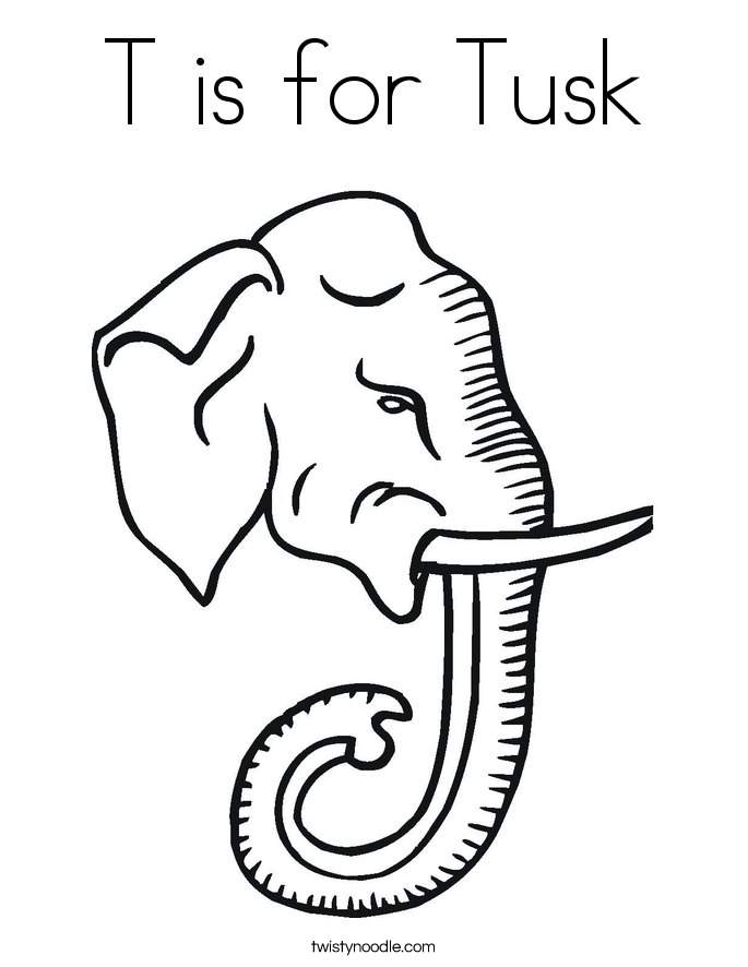 T is for Tusk Coloring Page