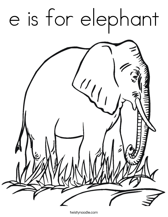 e is for elephant coloring page - e is for elephant coloring page twisty noodle