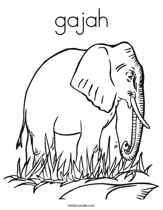 gajah Coloring Page