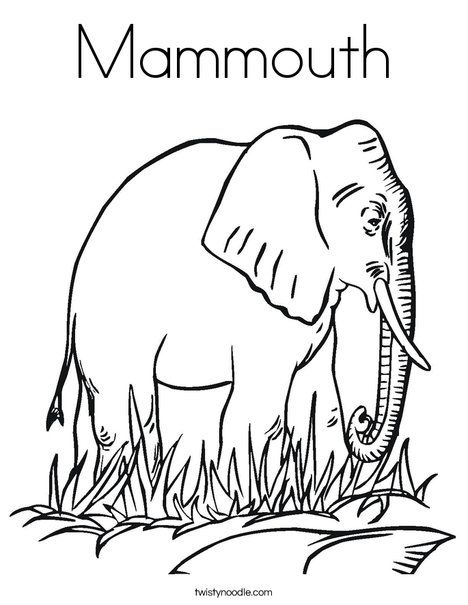 Elephant in Grass Coloring Page