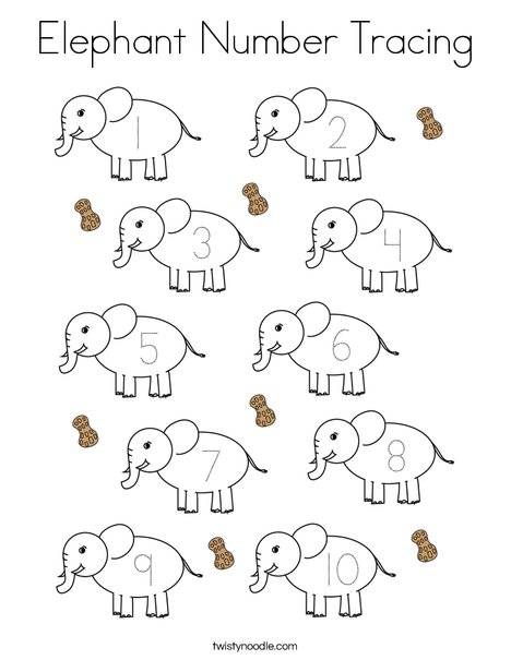 Elephant Number Tracing Coloring Page