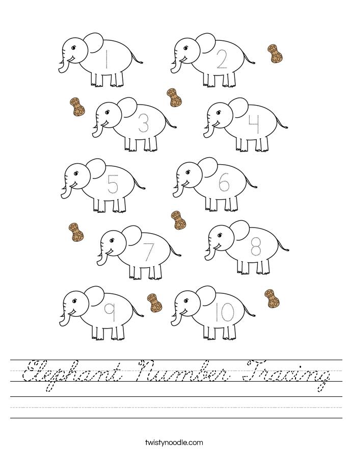 Elephant Number Tracing Worksheet