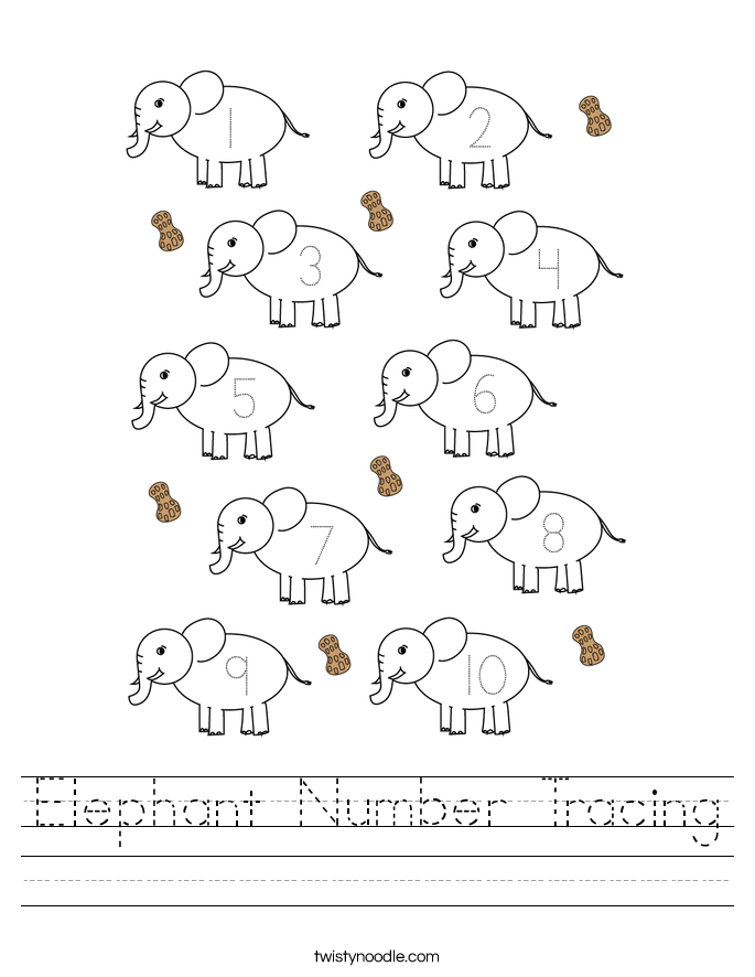 Elephant Number Tracing Worksheet