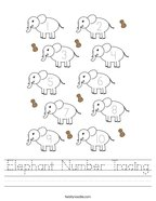 Elephant Number Tracing Handwriting Sheet