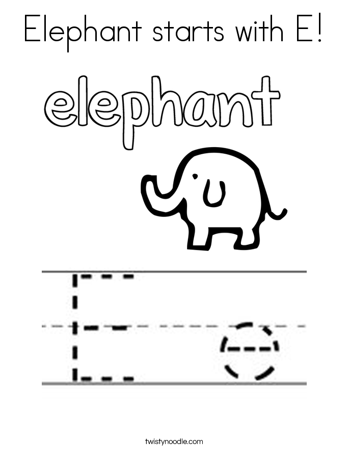 Elephant starts with E! Coloring Page