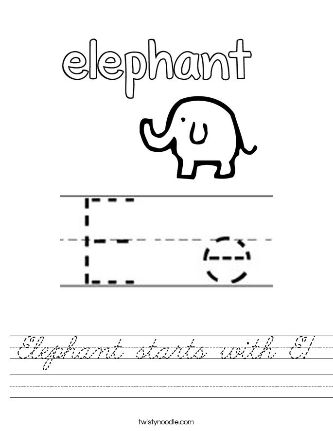 Elephant starts with E! Worksheet