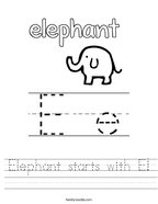 Elephant starts with E Handwriting Sheet