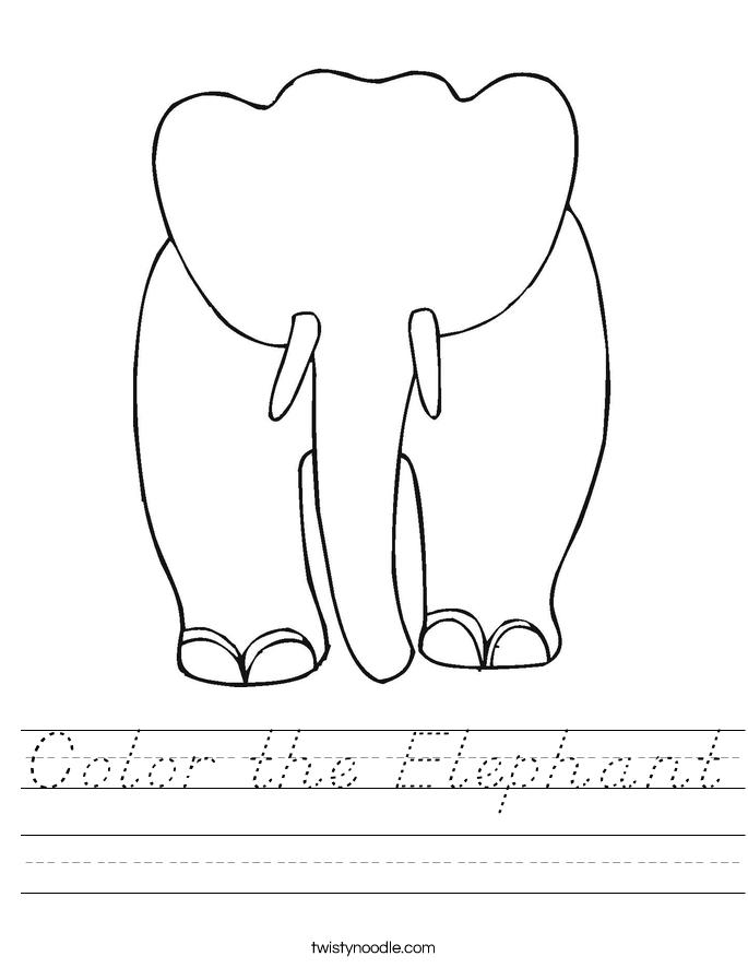 Color the Elephant Worksheet